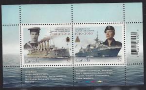 Canada #2384 mint souvenir sheet, Canadian Navy centenary, issued 2010