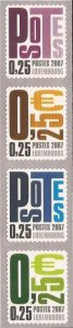 Luxembourg - 2007 Postes - Set of 2 Coil Strips #1206a, 1210a 12H-001