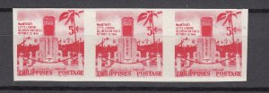 J26895A 1956 philippines mh #629a strip of 3