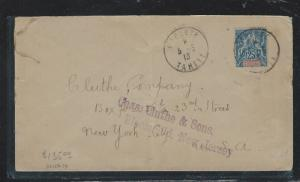 FRENCH OCEANIA  (PP2709B) 1913 25C COVER PAPEETE TAHITI TO USA