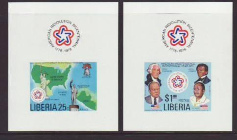 Liberia US Bicentennial 769-770 Deluxe Sheets MNH VF