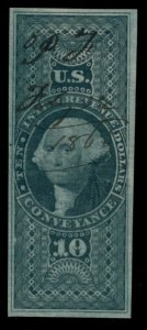 US #R94a, $10.00 Conveyance, imperf, used, VF, Scott $175.00