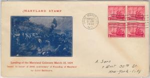 52532 -  UNITED  STATES - CACHET  FDC COVER - Scott # 736  MARYLAND  1934 Ship