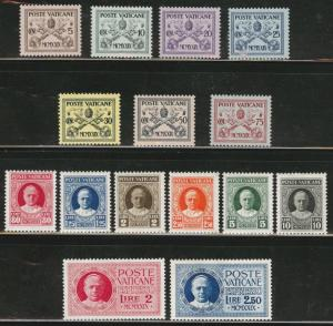 VATICAN Scott 1-13, E1-2, MH* 1929 set CV $67.50