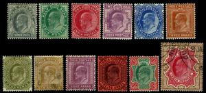 1902-09 India #60-76 King Edward VII - Most OGLH - F/VF+ - CV$70.70 (ESP#3842)