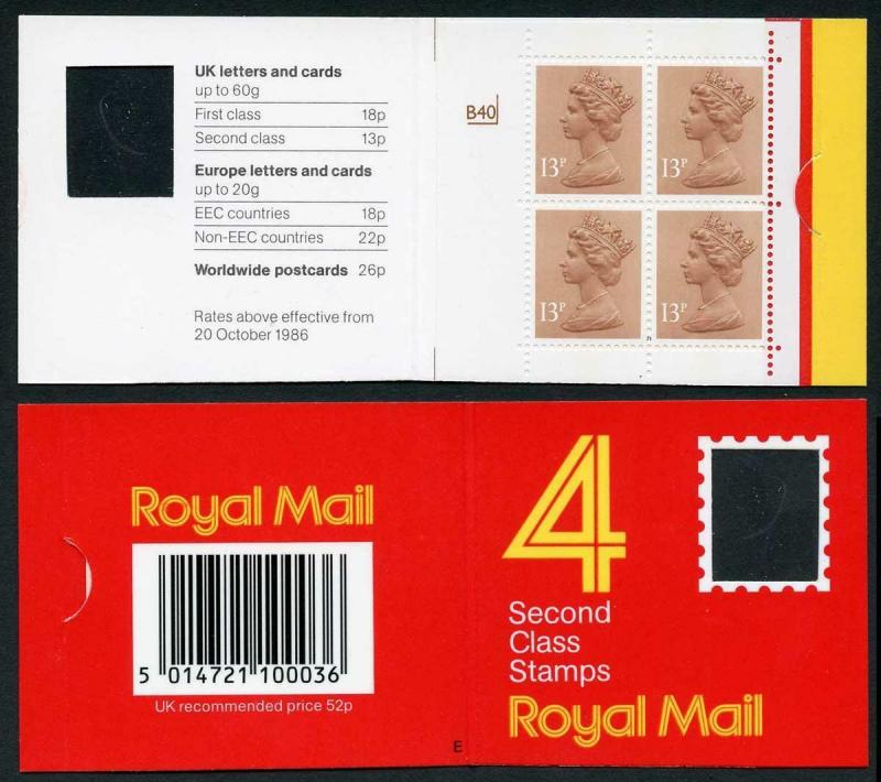 DB16(1)A 1988 52p Type 1A 4x13p CB Code E Cyl B40 p* Dry Print Window Booklet