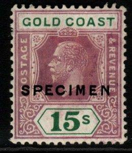 GOLD COAST SG100as 1924 15/= DULL PURPLE & GREEN DIE II SPECIMEN MTD MINT