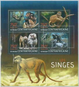 861 - CENTRAL AFRICAN R. -  ERROR MISSPERF sheet 2013 - MONKEYS, GORILLA Animals
