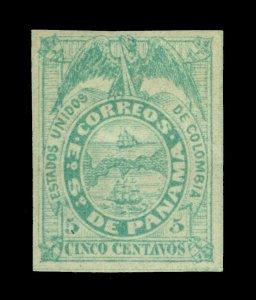 PANAMA 1878 Coat of Arms 5c blue green - medium paper - Scott # 5 mint MH