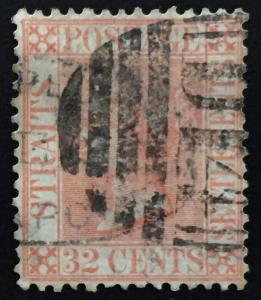 Malaya Straits Settlements 1867 QV 32c postmark Duplex D14 SG#18 CV£70 M1542