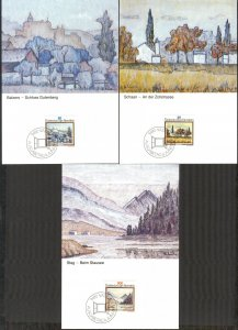 Liechtenstein 1983 Art Paintings Landscapes Architecture 3 Maxi Cards FDC
