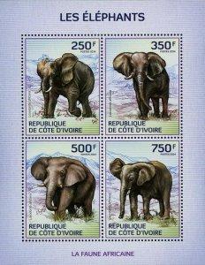 Elephant Stamp Loxodonta Africana Wild Animal S/S MNH #1609-1612