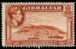 GIBRALTAR SG122, 1d yellow-brown, VLH MINT. Cat £28. PERF 14