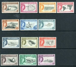 ASCENSION-1956  A mounted mint set to 10/- Sg 57-69
