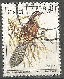 CISKEI, 1981, used 3c, Birds, Scott 7