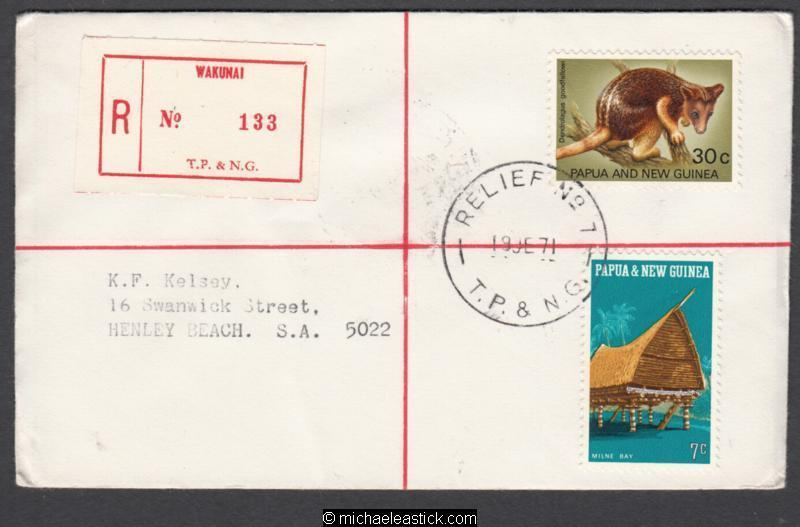 PNG RELIEF Postmark 1971 (Jun) WAKUNAI (Registered)