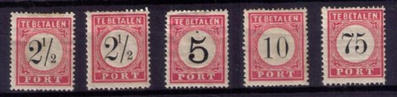 DUTCH INDIES 1881 MICHEL 5-7,13 POSTAGE DUE MLH INCOMPLETE SET OF FIVE F-VF