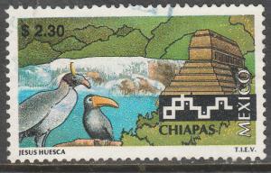 MEXICO 1964, $2.30 Tourism Chiapas, birds, pyramid.USED. F-VF. (1388)