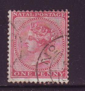 Natal Sc51 1874 1d rose Victoria stamp used