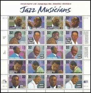 PCBstamps  US #2983/2992 Sheet $6.400(2x10x32c)Jazz Musicians, MNH, (2)