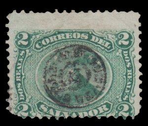 EL SALVADOR STAMP 1874 SCOTT # 7. SCV: $30.00. USED