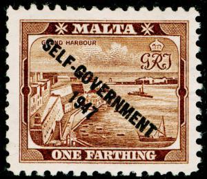 MALTA SG234, 1/4d brown, NH MINT.