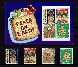 BAHAMAS - 1980 - CHRISTMAS - KING - ANGEL - STRAW FIGURES - MINT MNH SET + S/S!