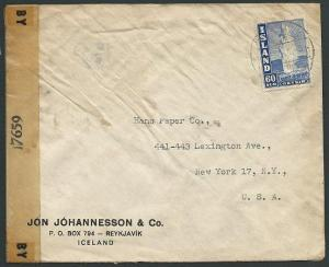 ICELAND 1941 censor cover Reykjavic to USA.................................42386