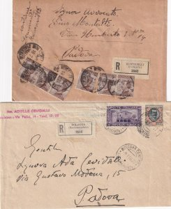 ITALY POSTAL HISTORY 2 REGISTERED COVERS BOLOGNA MONTICELLI DIFFERENT STAMPS