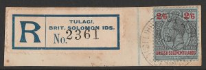 SOLOMON ISLANDS : 1914 KGV 2/6 black & red wmk mult crown.
