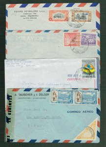 BOLIVIA - 4 neat covers, one censored w/ triangle stamp
