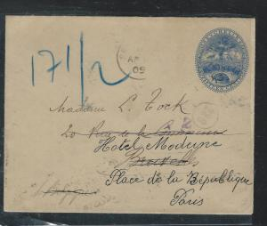 SEYCHELLES  (P2408B) 15C TURTLE PSE 1909 SENT TO PARIS