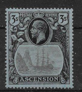ASCENSION SG20c 1924 3/= GREY-BLACK & BLACK ON BLUE CLEFT ROCK VAR MTD MINT