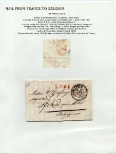 FRANCE Early LETTER/COVER 1833 fine used item Dunkerque - Hornu Belgium