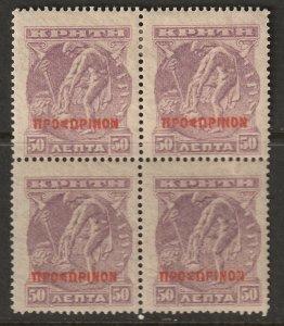 Crete 1900 Sc 55 block MLH*/MNH**