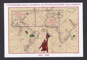 Vatican City   #903  MNH  1992  sheet  discovery America