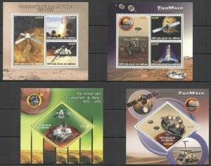 PE989-990 2015 BENIN SPACE SATELLITES VIKING 1 EXOMARS !!! 2KB+2BL MNH
