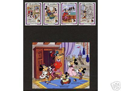 Gambia 560-1,564,567,569 MNH - Disney, Brothers Grimm, Faithful John, Boat