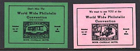 USA Philatelic Cinderella 2nd WW Phil. Convention Detroit MI 1940 Stamp on Stamp