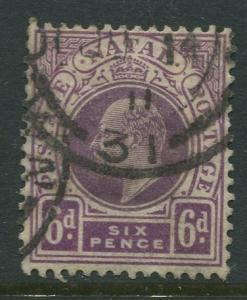 STAMP STATION PERTH Natal #110 Used KEVII 1908 Wmk 3 Multi Crown and CA CV$3.50.