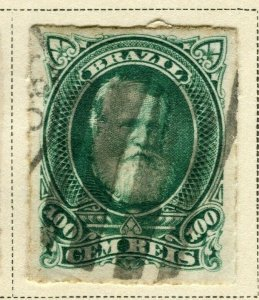 BRAZIL; 1878 early classic Pedro issue fine used 100r. value