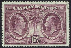 CAYMAN ISLANDS 1932 CENTENARY 6D USED
