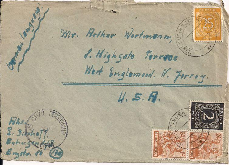 Germany 531 & 546 & 565 Cover - Front Only - US Censor