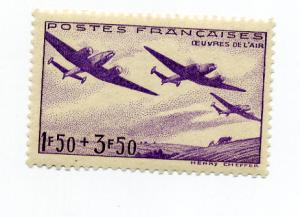France - Scott's # B130 Planes Over Field Mint Hinged