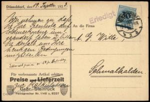 Germany Inflation Last Day Rate Sept 19 1923 Duesseldorf Cover 71518