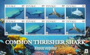 Tuvalu 2016 sharks marine life WWF klb of 8v MNH