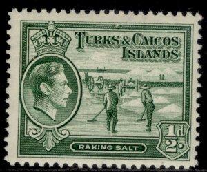 TURKS & CAICOS ISLANDS GVI SG195a, ½d deep green, M MINT.