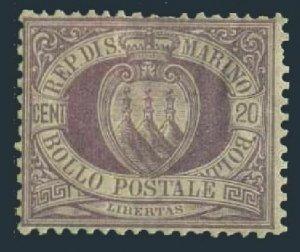 San Marino 12,hinged.Michel 29. Coat of Arms,1895.