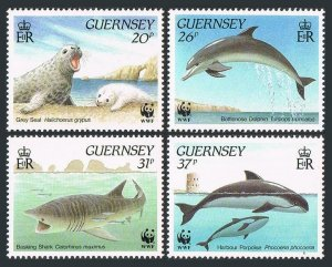 Guernsey 441-444,MNH.Michel 497-500. WWF 1990.Seal;Dolphin,Shark,Porpoise.