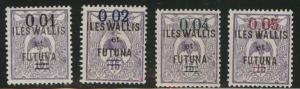 Wallis and Futuna Islands Scott 29-32 MH* 1922 overprint set